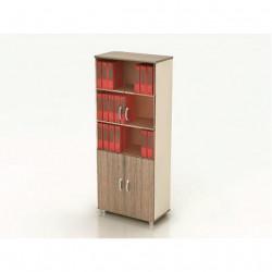 Шкаф высокий Модерн К8.19, закрытый, со стеклом, 4 двери, 850*440*2082, дуб шамони темный