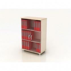 Шкаф средний Модерн К3.18, закрытый, со стеклом, 2 двери, 850*440*1288, дуб шамони светлый