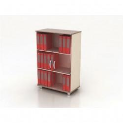 Шкаф средний Модерн К3.19, закрытый, со стеклом, 2 двери, 850*440*1288, дуб шамони темный