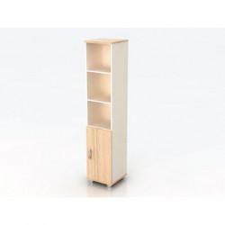 Шкаф высокий Модерн К9.18, узкий, 3 открытые полки, 1 дверь, 425*440*2082, дуб шамони светлый