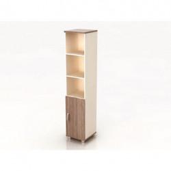 Шкаф высокий Модерн К9.19, узкий, 3 открытые полки, 1 дверь, 425*440*2082, дуб шамони темный