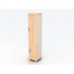 Шкаф высокий Модерн К10.18, узкий, закрытый, 2 двери, 425*440*2082, дуб шамони светлый