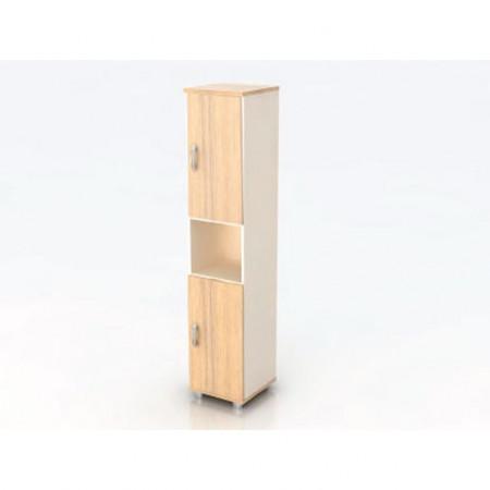 Шкаф высокий Модерн К12.18, узкий, 1 открытая полка, 2 двери, 425*440*2082, дуб шамони светлый