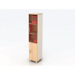Шкаф высокий Модерн К13.18, узкий, закрытый, со стеклом, 2 двери, 425*440*2082, дуб шамони светлый
