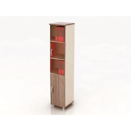 Шкаф высокий Модерн К13.19, узкий, закрытый, со стеклом, 2 двери, 425*440*2082, дуб шамони темный