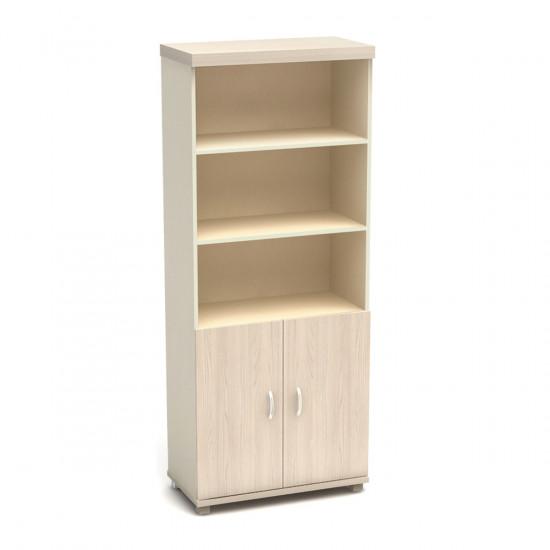 Шкаф высокий Модерн К67.18, 3 открытые полки, 2 двери, 855*442*2106, дуб шамони светлый