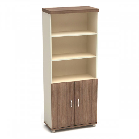 Шкаф высокий Модерн К67.19, 3 открытые полки, 2 двери, 855*442*2106, дуб шамони темный