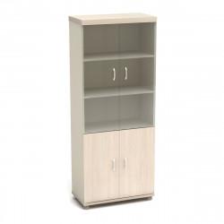 Шкаф высокий Модерн К85.18, закрытый, со стеклом, 4 двери, 855*442*2106, дуб шамони светлый