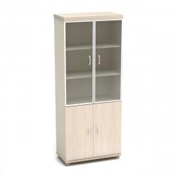 Шкаф высокий Модерн К86.18, закрытый, со стеклом в алюминиевой рамке, 4 двери, 855*442*2106, дуб шамони светлый
