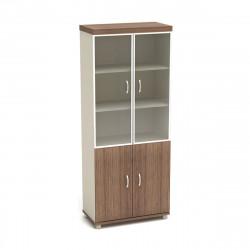 Шкаф высокий Модерн К86.19, закрытый, со стеклом в алюминиевой рамке, 4 двери, 855*442*2106, дуб шамони темный