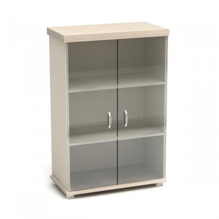 Шкаф средний Модерн К83.18, закрытый, сос теклом, 2 двери, 854*442*1312, дуб шамони светлый