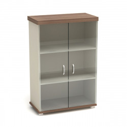 Шкаф средний Модерн К83.19, закрытый, со стеклом, 2 двери, 854*442*1312, дуб шамони темный