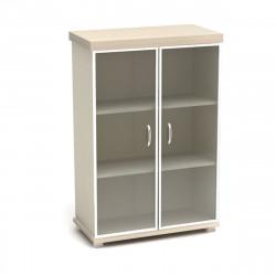 Шкаф средний Модерн К84.18, закрытый, со стеклом в алюминиевой рамке, 2 двери, 854*442*1312, дуб шамони светлый