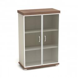 Шкаф средний Модерн К84.19, закрытый, со стеклом в алюминиевой рамке, 2 двери, 854*442*1312, дуб шамони темный
