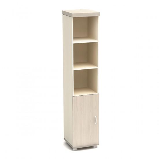 Шкаф высокий Модерн К89.18, узкий, 3 открытые полки, 1 дверь, 430*442*2106, дуб шамони светлый