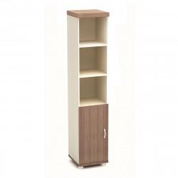 Шкаф высокий Модерн К89.19, узкий, 3 открытые полки, 1 дверь, 430*442*2106, дуб шамони темный
