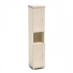 Шкаф высокий Модерн К92.18, узкий, 1 открытая полка, 2 двери, 430*442*2106, дуб шамони светлый