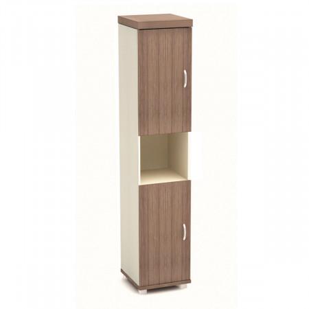 Шкаф высокий Модерн К92.19, узкий, 1 открытая полка, 2 двери, 430*442*2106, дуб шамони темный