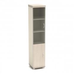 Шкаф высокий Модерн К93.18, закрытый, со стеклом, 2 двери, 430*442*2106, дуб шамони светлый