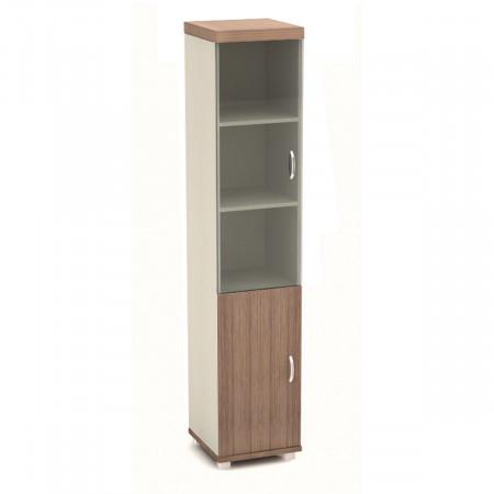Шкаф высокий Модерн К93.19, закрытый, со стеклом, 2 двери, 430*442*2106, дуб шамони темный