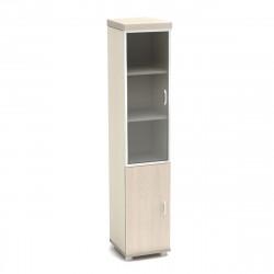 Шкаф высокий Модерн К94.18, узкий, со стеклом в алюминиевой рамке, 2 двери, 430*442*2106, дуб шамони светлый