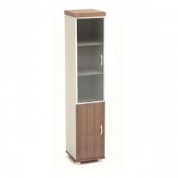 Шкаф высокий Модерн К94.19, узкий, со стеклом в алюминиевой рамке, 2 двери, 430*442*2106, дуб шамони темный