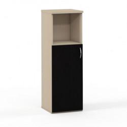 Шкаф средний Эдем, 1 открытая полка, узкий, 1 дверь, 385*385*1177, венге/дуб беленый