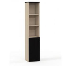 Шкаф высокий Эдем, узкий, 3 открытые полки, 1 дверь, 385*385*1945, венге/дуб беленый