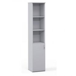 Шкаф высокий 3 открытые полки Эдем, узкий, 1 дверь, 385*385*1945, платина