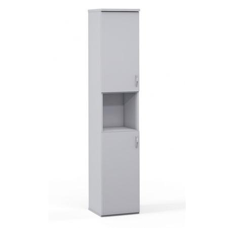 Шкаф высокий 1 открытая полка Эдем, узкий, 2 двери, 385*385*1945, платина