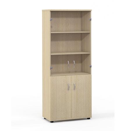 Шкаф высокий Лайт, закрытый, со стеклом, 4 двери, 724*359*1793, дуб молочный