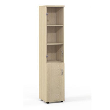 Шкаф высокий Лайт, узкий, закрытый, со стеклом, 2 двери, 364*359*1793, дуб молочный