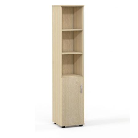 Шкаф высокий Лайт, узкий, 3 открытые полки, 1 дверь, 364*359*1793, дуб молочный