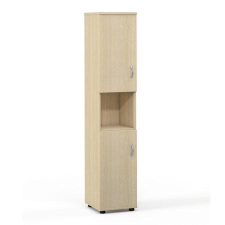 Шкаф высокий Лайт, узкий, 1 открытая полка, 2 двери, 364*359*1793, дуб молочный