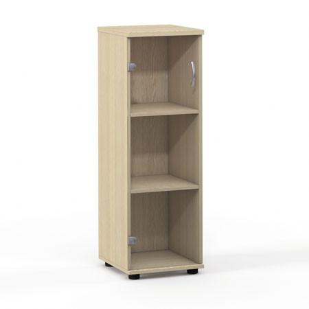 Шкаф средний Лайт, узкий, закрытый, со стеклом, 1 дверь, 364*359*1102, дуб молочный