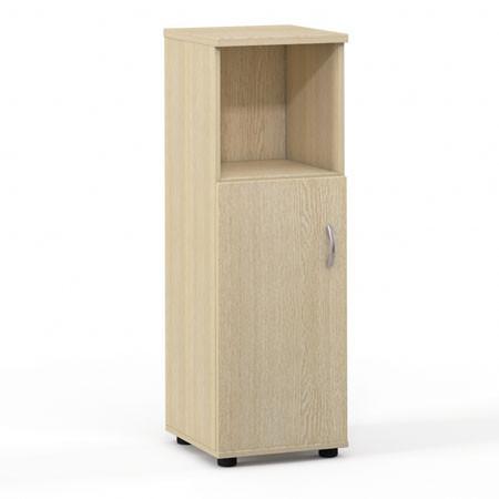 Шкаф средний Лайт, узкий, 1 открытая полка, 1 дверь, 364*359*1102, дуб молочный