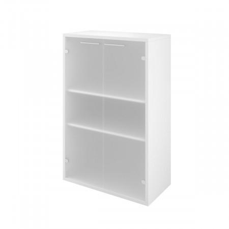 Шкаф низкий Дублин ДБ49.30, закрытый, со стеклом сатиновым, 2 двери, 800*400*1250, белый, ДБ23+ДБ45С*2+ДБ48*2