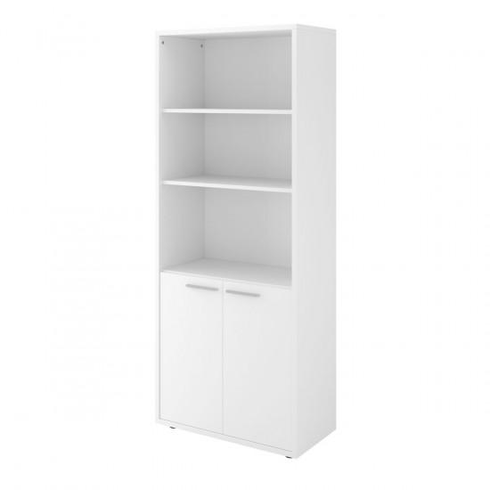 Шкаф высокий Дублин ДБ41.30, 3 открытые полки, 2 двери, 800*400*1980, белый, ДБ24+ДБ27*2
