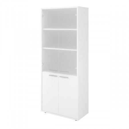 Шкаф высокий Дублин ДБ42.30, закрытый, со стеклом сатиновым, 4 двери, 800*400*1980, белый, ДБ24+ДБ27*2+ДБ45С+ДБ48*2