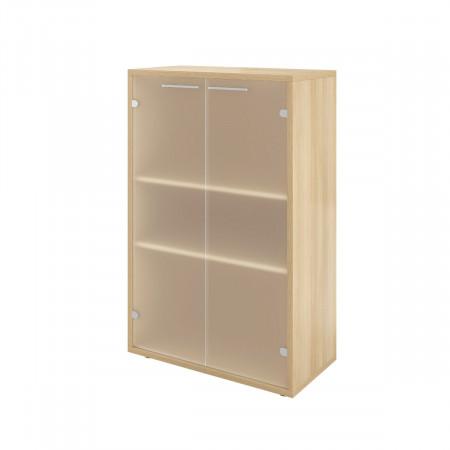 Шкаф низкий Дублин ДБ49.31, закрытый, со стеклом сатиновым, 2 двери, 800*400*1250, Акация лорка, ДБ23+ДБ45С*2+ДБ48*2