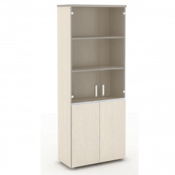 Шкаф высокий Vita, закрытый, со стеклом, 4 двери, 777*387*1980, сосна карелия