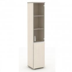 Шкаф высокий Vita, узкий, закрытый, со стеклом, 2 двери, 391*387*1980, сосна карелия