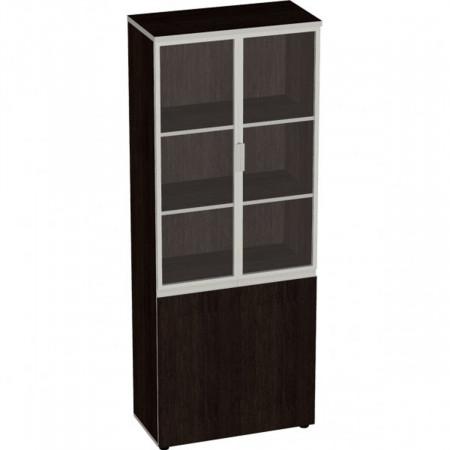 Шкаф высокий Vita, закрытый, со стеклом, в алюминиевой рамке, 4 двери, 777*387*1980, сосна ларедо