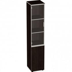 Шкаф высокий Vita, узкий, закрытый, со стеклом, 2 двери, 391*387*1980, сосна ларедо