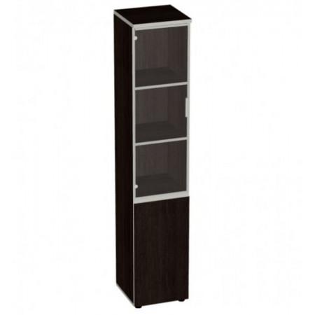 Шкаф высокий Vita, узкий, закрытый, со стеклом, в алюминиевой рамке, 2 двери, 391*387*1980, сосна ларедо
