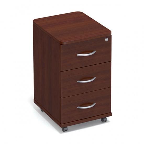 Тумба выкатная Статус С-ФР-3.0, 3 ящика, центральный замок, 400*450*710, орех артемида