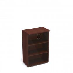 Шкаф средний Статус, закрытый, со стеклом, с топом, 2 двери, 800*483*1177, орех артемида