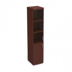 Шкаф высокий Статус, узкий, закрытый, со стеклом, с топом, 2 двери, 400*483*1945, орех артемида