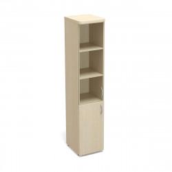 Шкаф высокий Статус, узкий, закрытый, со стеклом, с топом, 2 двери, 400*483*1945, дуб молочный