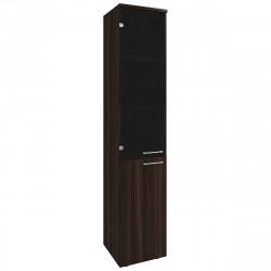 Шкаф высокий Вектор КВ209.26П, узкий, правый, закрытый, со стеклом, 2 двери, 410*400*2052, Честерфилд темный новый, КВ88+КВ92+ФД07+КВ72П+КВ96